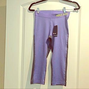 NWT Nike Pro Dri-fit Purple/Gray Crop Legging Sz S